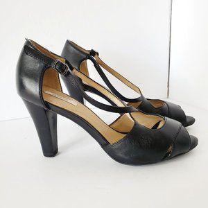 GEOX Italian Leather Strappy Open Toe Black Heels